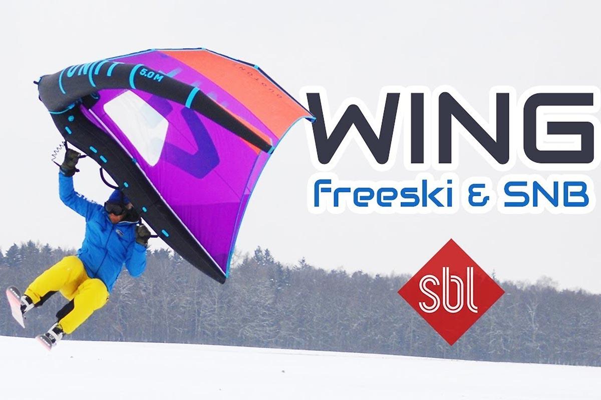 Du ski et du snowboard avec une aile de wing